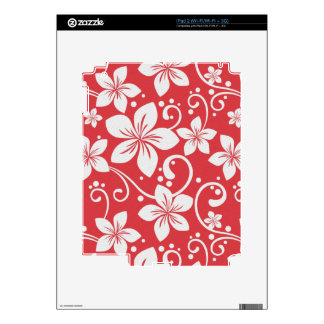 Plumeria Swirl Red Decals For The iPad 2