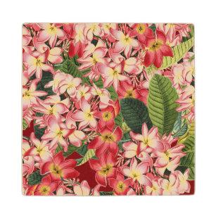 Plumeria Tropical Flowers Floral Wood Coaster