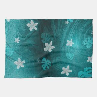 Plumeria turqouise tropical print kitchen towel