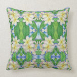 Plumeria Watercolor Throw Pillow