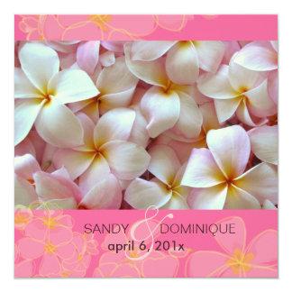"""Plumeria Wedding Invitations 5.25"""" Square Invitation Card"""