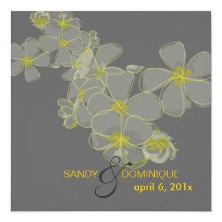 Plumerias diy colors, gray yellow black 5.25x5.25 square paper invitation card