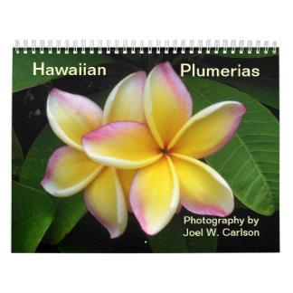 Plumerias hawaianos calendarios de pared