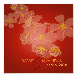 Plumerias lei/red velvet personalized invites