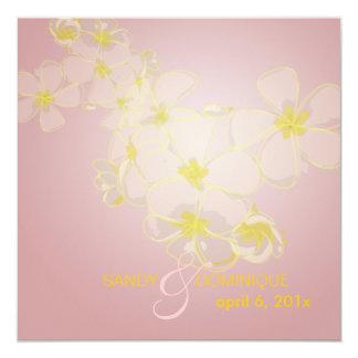 Plumerias on mauve pink 5.25x5.25 square paper invitation card