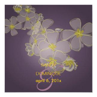 Plumerias on midnight plum personalized announcements