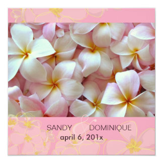 Plumerias on pink background 5.25x5.25 square paper invitation card