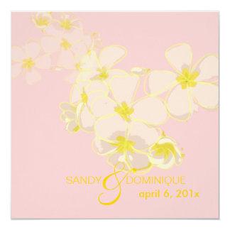 Plumerias on pink 5.25x5.25 square paper invitation card