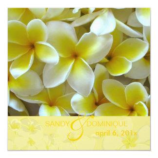 Plumerias on yellow background custom invitations