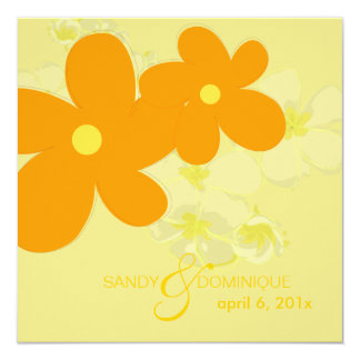 Plumerias on yellow background 5.25x5.25 square paper invitation card
