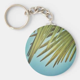 Plumero de palmera al cielo de verano llavero redondo tipo pin