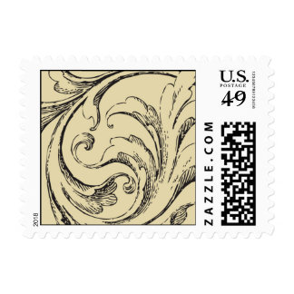 Plumes and curves sketch postage