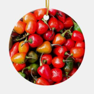 Plump Cherry Peppers Ceramic Ornament