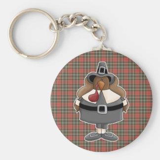 plump pilgrim turkey basic round button keychain
