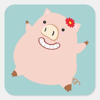 Plump Pretty Pig Square Sticker