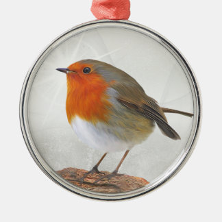 Plump Robin Redbreast Metal Ornament