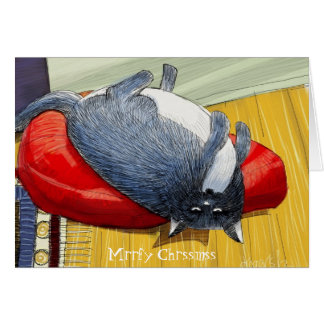 Plump Tuxedo cat upside down Christmas edition Greeting Cards