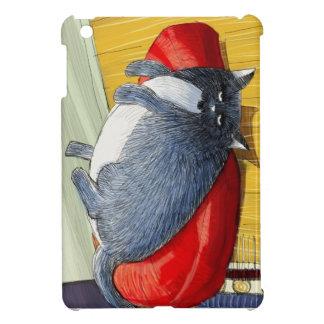 Plump tuxedo cat upside down on cushion iPad mini covers
