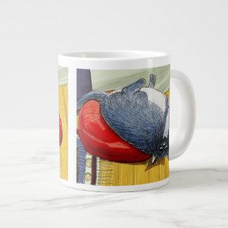 Plump Tuxedo cat upside down on cushion 20 Oz Large Ceramic Coffee Mug