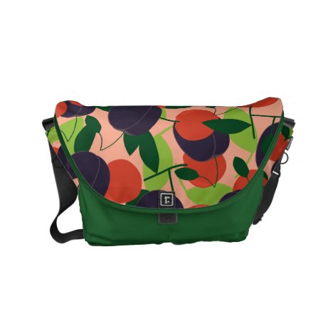 Plums and cherries small messenger bag