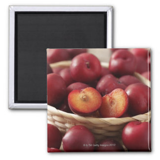 Plums in basket 2 inch square magnet