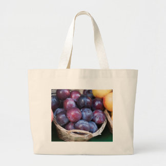 plums in the basket large tote bag