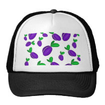 Plums pattern trucker hat