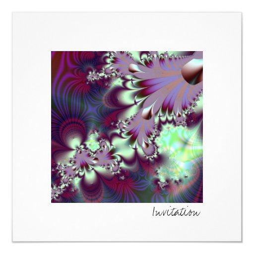 """Plumule · Arte del fractal · Púrpura y aguamarina Invitación 5.25"""" X 5.25"""""""