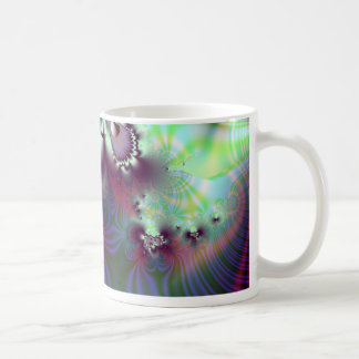 Plumule · Arte del fractal · Púrpura y aguamarina Taza