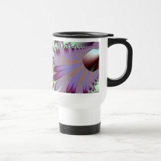 Plumule · Arte del fractal · Púrpura y aguamarina Taza Térmica