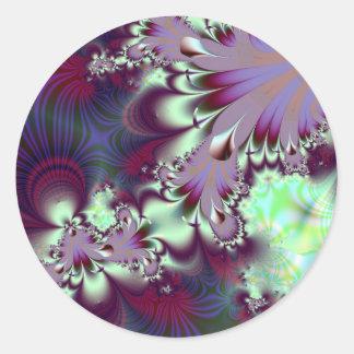 Plumule · Fractal Art · Purple & Aqua Classic Round Sticker