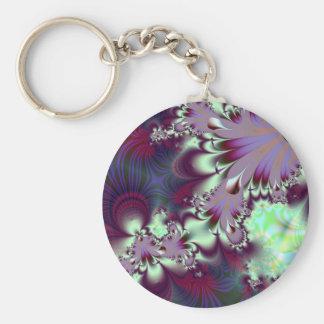 Plumule · Fractal Art · Purple & Aqua Keychain
