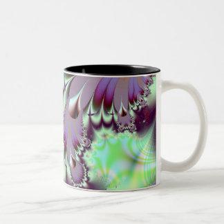 Plumule · Fractal Art · Purple & Aqua Two-Tone Coffee Mug