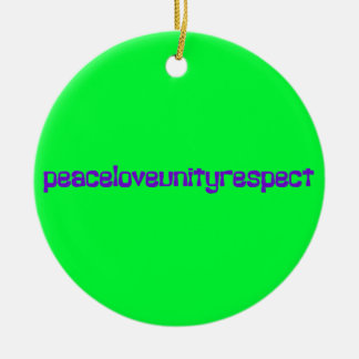 PLUR Peace Love Unity Respect Rave Purple Letters Double-Sided Ceramic Round Christmas Ornament