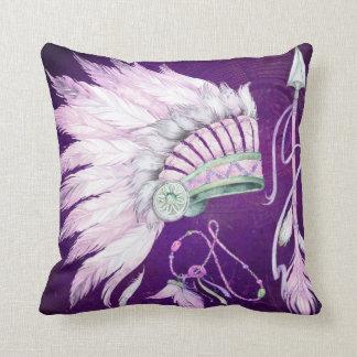 Plurple Native American Headdress Arrow southwest Throw Pillow