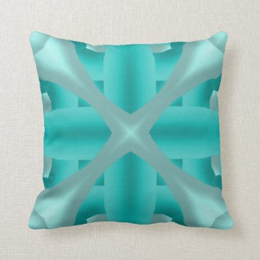 McTiffany Tiffany Aqua Plus Sign and Skinny Bones Throw Pillow
