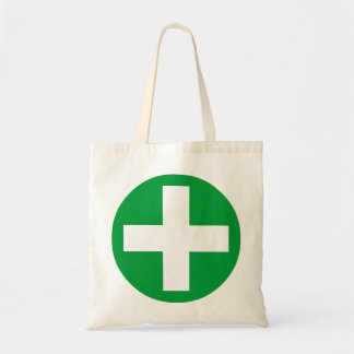 Plus Sign in white with green Bag