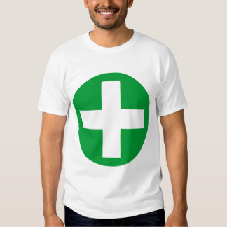 Plus Sign in white with green T-Shirt