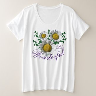Plus Size Yellow White Daisy Flowers Plus Size T-Shirt