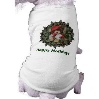 Plush Bear On Wreath Christmas Holiday T-Shirt