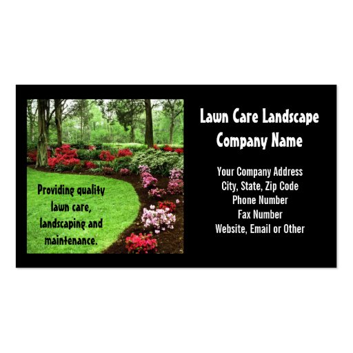 plush green landscape lawn care business business card