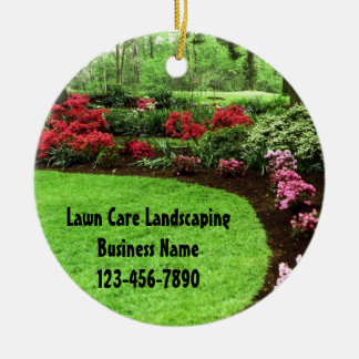 Plush Green Landscape Lawn Care Business Double-Sided Ceramic Round Christmas Ornament