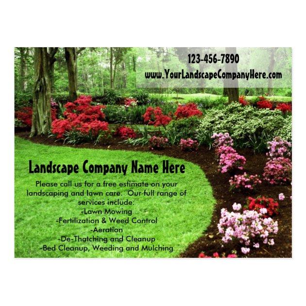 Plush Green Landscape Lawn Care Business Postcard | Zazzle