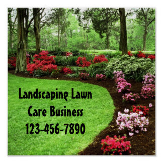 Plush Green Landscape Lawn Care Business Sign Posters