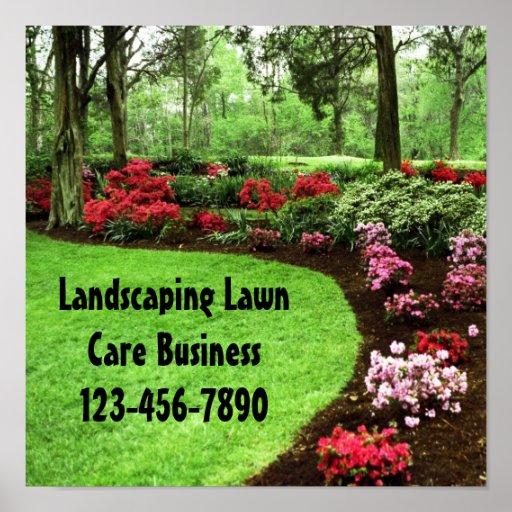 Landscape Commercial Sign: Plush Green Landscape Lawn Care Business Sign Poster
