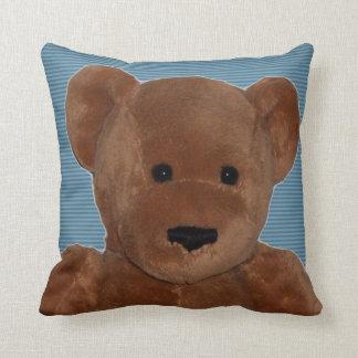 Plush Teddy Bear (blue striped) Throw Pillows