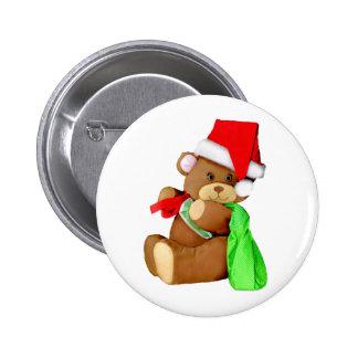 Plush Teddy Bear Dressed as Santa Claus Pins
