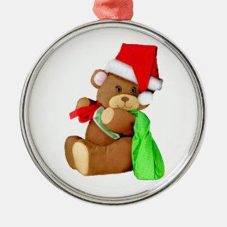 Plush Teddy Bear Dressed as Santa Claus Metal Ornament
