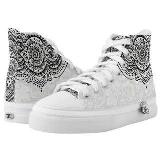 Plush White Damasks Black Floral Lace High-Top Sneakers