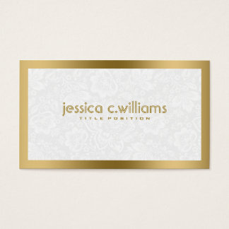 Plush White Damasks With Gold Frame Business Card
